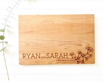 Personalized Cutting Board for Custom Wedding Gift. Engraved Cherry Wood anniversary gift, engagement gift. Housewarming Present.