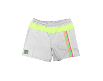 Athletic 80s Neon Quad Stripe Running Shorts / Trunks - 32 to 36