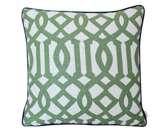 Schumacher Imperial Trellis Pillow Cover in Green with Navy Piping