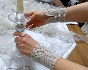 Victorian Style Gloves Lace Gloves Ivory Beige Crocheted Gloves Love Sale Pearl Buttons Bridesmaid gift