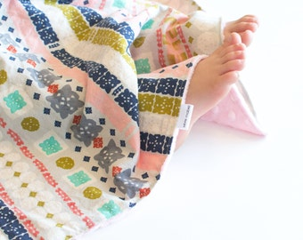Baby Girl Minky Blanket Bandana Paper Cuts, Southwest Style Security Lovey