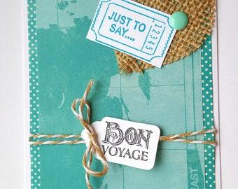 Bon Voyage Card * Safe Travels Card * Handmade Greeting Travel Card