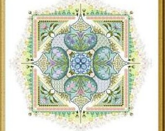 CHÂTELAINE Spring Knotgardencounted cross stitch pattern at thecottageneedle.com mandala