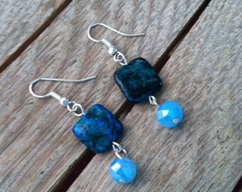 Blue Green Azurite and Light Blue Faceted Crystal Beaded Earrings ER-012215-01