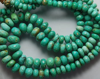 8 Inches, Natural Arizona Sleeping Beauty Turquoise Faceted Large Rondelles, 10-5mm