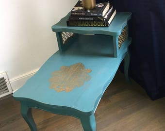 Vintage Two Tiered Handpainted Telephone Table