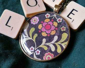 Pinks, browns and greens 'Folksy' pattern resin pendant. Resin Necklace, Resin Jewellery, boho.