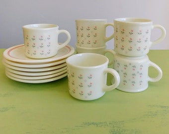 Vintage Set Of Made In England Pyrex Espresso Cup Laura Pattern