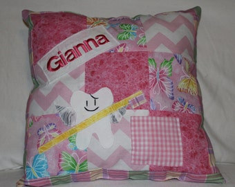 Personalized Tooth Fairy Pillow for Girls, tooth fairy with tutu, Pink Tooth Fairy Pillow, Purple Tooth fairy pillow, Patchwork Pillow