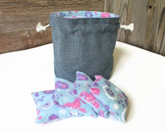 Denim & Light Blue Violet Pink Butterfly Flannel Bucket Bag with matching Bean Bags (Set of 4) Birthday Party Favor -- US Shipping Included