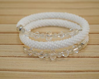 White bracelet knitted crochet from the Czech beads on wire Beautiful beads White bracelet jewelry Delicate bracelet Valentine's Day gift