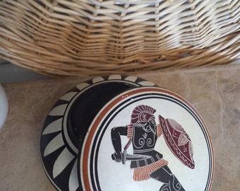 Vintage Grecian Lidded Bowl with Greek Warrior ~ Geometric Made in Greece souvenir Trinket