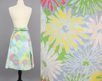 vintage 70s Zinnia Wrap Skirt / 1970s Cordon Talbots Colorful Floral Wrap Skirt / Small