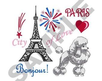 Poodle In Paris - Machine Embroidery Design