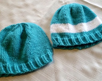 Teal knit baby hats