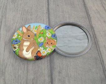 Pocket Mirror / Rabbit Pocket Mirror / Purse Mirror / Hand Pocket Mirror / Handbag Mirror / Rabbit Purse Mirror / Makeup Mirror /Bunny Gift