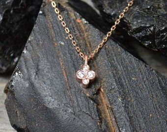 Cluster Necklace with 4 White Diamonds in 14K Rose Gold, 14K White Gold and 14K Yellow Gold