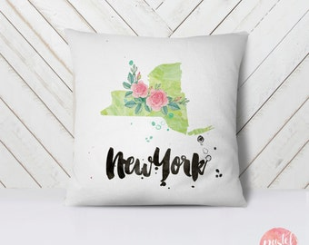 US State New York Map Outline Floral Design - Throw Pillow Case, Pillow Cover, Home Decor - TPC1156