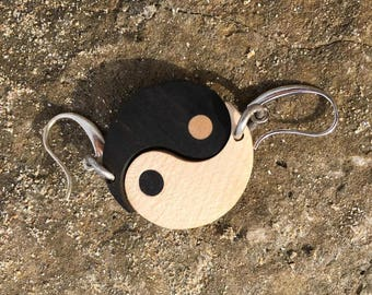 orecchini earrings yin yang tao ebano ebony acero maple