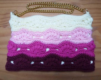 "Crochet ombre shoulder bag with chain strap, fully lined with inside pockets, popper fastening. Measures 11"" x 7"" (28 x 18cm)"