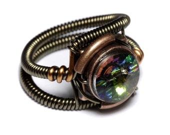 Steampunk Jewelry - Ring - Vitrail Swarovski Crystal
