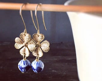 Ginger Jar Indigo Blue and White Earrings with Vintage Gold Dogwood Links - Chinese Porcelain - Ming Dynasty