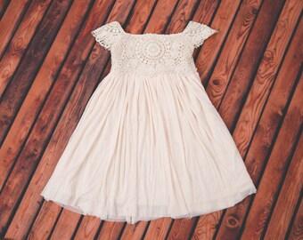 Cream Ivory Flower Girl Dress, Lace dress, Champagne Ivory Cream Wedding, Ivory tutu dress, Princess Dress, First Communion Dress, Crochet