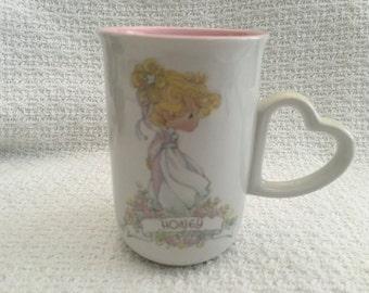 Precious Moments Honey Mug 1990, Enesco Precious Moments Mug, Heart Handle, Pink Interior, Enesco Mugs, Designed by Samuel J Butcher, Korea