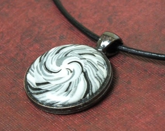 Unisex Spiral Black White Grey Abstract Swirl Circle Pendant Necklace, Geometric Polymer Clay OOAK, one of a kind