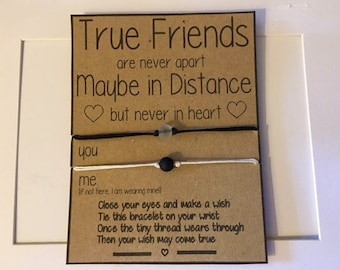 Distance Bracelets - Wish Bracelets, Miss You, Long Distance, One Way Ticket, Good Friends, True Friends, Love, Wish Bracelet, Mature Gift