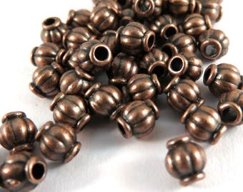 50 Metal Spacer Bead 4mm Antique Copper Lantern Bead Ribbed Barrel 1.5mm hole  - 50 pc - M7002-AC50