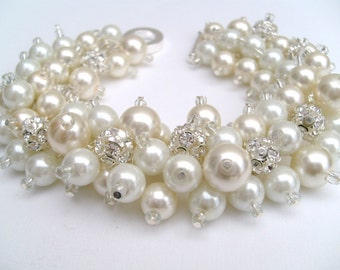 Bridal Jewelry, Wedding, Pearl Bridesmaid Bracelet, Ivory and White Pearl and Rhinestone Bracelet, Cluster Bracelet, Pearl Bracelet