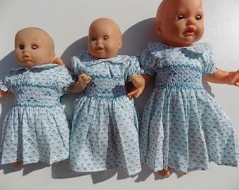 Doll clothes, dress doll, 30 cm, 36 cm, 42 cm, gift, Christmas, birthday, smocking, cotton dress, doll clothes, dress, smocked dress