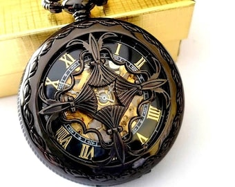 Personalized Groomsmen Gift Black Pocket Watch with Chains Engraved Wedding Groomsman Christmas Birthday Godfather Graduation Celtic Knot
