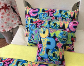 """American Girl, Our Generation 18"""" Doll Bedding Power and Peace Theme"""