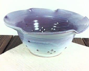ceramic clay pottery colander for fruit bowl, fruit and berry bowl ceramic, pottery strainer