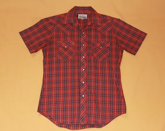 """Vintage 1970s """"Authentic Western ATB"""" Red Plaid Pearl Snap Button Up Collar Shirt US Men's Size 15 1/2 (Medium)"""