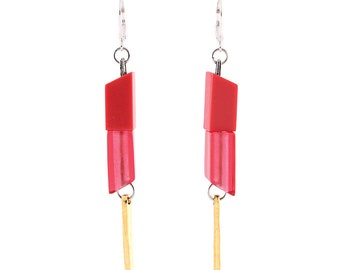 Lovely pewter earrings with geometrical resin pieces - FANUI 08 - C (pink) (ALIA Collection)