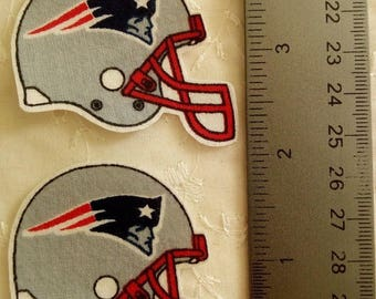 New England Patriots Football 2pc set LG Iron On Fabric Appliques No Sew