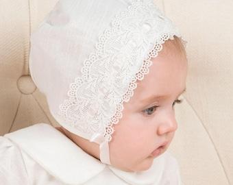Emma Lace Bonnet, Ivory Linen & Lace, Girls Baby Bonnet, Christening Bonnet