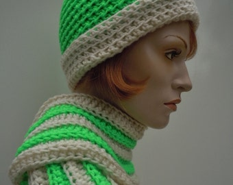Flourescent Lime Green and White Hat and Scarf Set - Women - Crochet Hat and Scarf - SHOW
