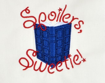 Spoilers, Sweetie! River Song's journal machine embroidery design 4x4