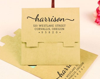 Custom Address Stamp, Self Inking Return Address Stamp, Personalized Rubber Stamp, Custom Rubber Stamp Engagement Gift, Wood Stamp HS97P