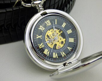 Premium Pocket Watch, Personalized Gift, Engraving Options, Silver case Black dial & Gold #'s, Groomsmen Gift - Item MPW334