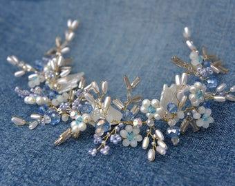 Blue Bridal Headpiece, Wedding Hair Vine, Bridal Hair Vine, Bridal Hair Accessories, Blue Wedding Haedpiece, Bridal Halo, Ornament, Tiara.