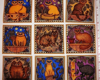 RARE CATS Fabric Squares 9 Appliques Gold Accents Dan Morris Siamese Tabby Exotic Eyes