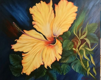 Sale Yellow Hibiscus oil painting