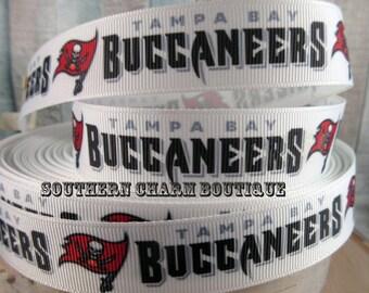 """3 yards 7/8"""" Tampa Bay Buccaneers grosgrain ribbon"""