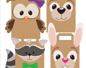 DIY Birthday Party Supplies for Kids/Toddlers, Treat Bags, Party Favors | Woodland Forest Animals: Rabbit, Bear, Racoon, Owl | Printables