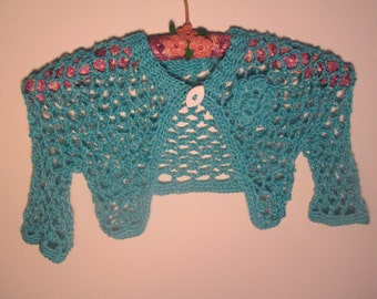 6 Month to 3T Baby Girl Turqouise Bolero Crocheted by SuzannesStitches, 12 Month Baby Girl Turquoise Shrug, 1T Girl's Bolero, 2T Girl Shrug